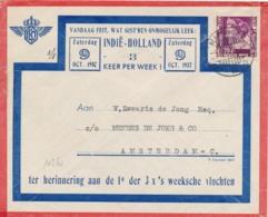 Nederlands Indië - 1937 - 20 Cent Wilhelmina Op Speciale LP-cover Van LBnr Makasser/1 Naar Amsterdam - Nederlands-Indië