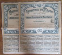 2 Actions De 100 Francs De La Compagnie Du Maroc - Complètes - 1905 - Achat Immédiat - Actions & Titres