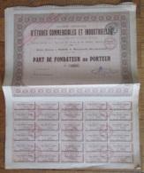 4 Actions (Parts Fondateur) Complètes De La Société D'études Commerciales Et Industrielles - 1919 - Achat Immédiat - Industrie