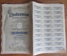 30 Actions (Parts Bénéficiaires) De 100 Francs De La SA L'Indusmine - Complètes - 1907 - Achat Immédiat - Mines