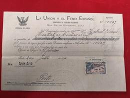 DOCUMENTO RECIBO 26 JULHO 19100 COMPANHIA SEGUROS LA UNION Y EL FENIX ESPANOL - Portugal