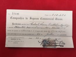 DOCUMENTO RECIBO 26.7.1910 COMPANHIA SEGUROS COMMERCIAL UNION - Portugal