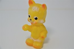 PIEPER POUET SQUEAKY: LEDRAPLASTIC CAT KAT CHAT - L=18 - ***  - M DEP ELEPHANT ITALY  - Rubber - Vinyl - 1960's - Schtroumpfs