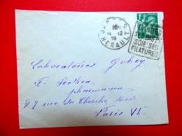 Daguin - Ganges - Hérault - SES BAS DE SOIE SES FILATURES - 16/12/39 - Marcophilie (Lettres)
