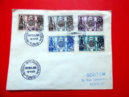 Tunisie - Premier Jour - 14/5/1955 - Tunie - N°390/394 - Cinquantenaire Du Rotary International - FDC