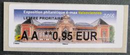 FRANCE - VIGNETTES ILLUSTREES - 2018 - VIG 276 - EXPOSITION PHILATELIQUE é Max - VALENCIENNES - 2010-... Illustrated Franking Labels