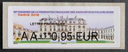 FRANCE - VIGNETTES ILLUSTREES - 2018 - VIG 284 - 91è CONGRES DES FFAP - PARIS - 2010-... Illustrated Franking Labels
