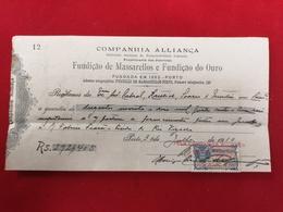 DOCUMENTO RECIBO COMPANHIA ALLIANÇA FUNDIÇAO DE MASSARELLOS E FUNDIÇAO DO OURO 30.7.1910 - Portugal