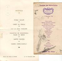 Ecole Des Mines - 2 Menus : Sainte-Barbe 1933 Et Repas 1958 - Menükarten