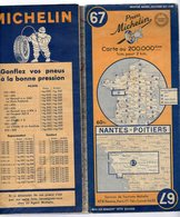 Carte Géographique MICHELIN - N° 067 NANTES - POITIERS 1948 - Cartes Routières