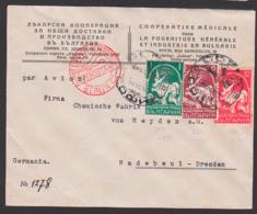 Sofia Luftpostbrief Par Avion Nach Radebeul Deutschland Chemische Fabrik Von Heyden, Luftpostamt Berlin C2, 25.8.34 - Covers & Documents