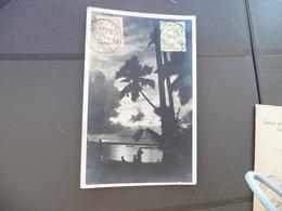CPA Indonésie Sumatra Coucher De Soleil Sur Le Lac De Toba 2 Old Stamps Holland - Indonésie