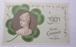 Neujahr, Jahreszahl, Kleeblatt, Frauen, Mode,    1901  ♥  - Neujahr