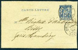 Type Sage - 15 C - Moitié De Carte-lettre - Cachet Aix-les-Bains 1896 - Postal Stamped Stationery