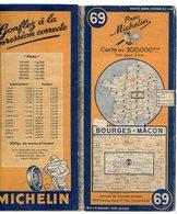 Carte Géographique MICHELIN - N° 069 BOURGES - MACON 1948 - Cartes Routières