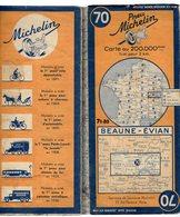 Carte Géographique MICHELIN - N° 070 BEAUNE - EVIAN 1943-2 - Cartes Routières