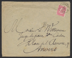 "Fine Barbe - N°58 SBD Sur Lettre Obl Relais ""Cugnon"" (1905) Vers Anvers. - 1893-1900 Thin Beard"