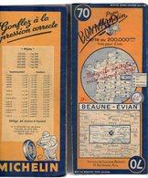 Carte Géographique MICHELIN - N° 070 BEAUNE - EVIAN 1947 (avec Marquage Bac Et Ponts Détruits) - Cartes Routières