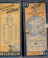 Carte Géographique MICHELIN - N° 073 CLERMON Fd - LYON 1946 - Cartes Routières
