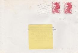 2376 2.20f. Rouge LIBERTE Type I SANS BANDES DE PHOSPHORE - PAIRE S/ LETTRE - 1982-90 Liberty Of Gandon