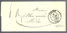 LETTRE EN PROVENANCE DE CREST - DRÔME - 1848 - - Marcophilie (Lettres)