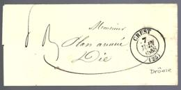 LETTRE EN PROVENANCE DE CREST - DRÔME - 1848 - - Poststempel (Briefe)
