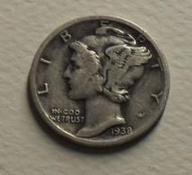 1938 - Etats Unis - USA - ONE DIME MERCURY, Silver, Argent, KM 140 - Émissions Fédérales