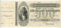 500 LIRE BANCA ITALO - GERMANICA - SPECIMEN - CON MATRICE 187_ NON EMESSO SUP- - Altri