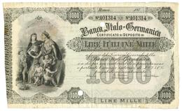1000 LIRE BANCA ITALO - GERMANICA 187_ SPL/SPL+ - Altri