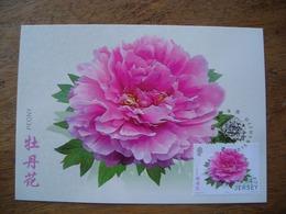 Jersey, Liens Avec Chine, Carte Maximum, Fleurs De Jardin, Peony, Pivoine - Jersey