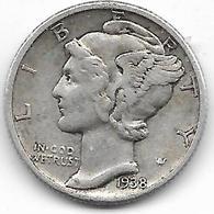 Vente Enchere Flash 24 H Mise à Prix 1 € - 1938 - Etats Unis - USA - ONE DIME MERCURY - Émissions Fédérales