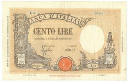100 LIRE BARBETTI GRANDE B GIALLINO TESTINA FASCIO 09/12/1942 BB+ - [ 1] …-1946 : Koninkrijk