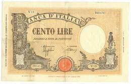 100 LIRE BARBETTI GRANDE B GIALLO TESTINA FASCIO 09/12/1942 BB/SPL - Regno D'Italia - Altri