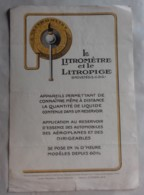 Brochure Publicitaire Litromètre (Jauge) 1910 Environ - Voitures