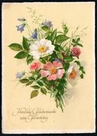 C7443 - Glückwunschkarte Geburtstag Blumen VEB Volkskunstverlag Reichenbach - Gel Limbach Oberfrahna - Geburtstag