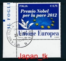 ITALIEN Mi. Nr. 3585 Verleihung Des Friedensnobelpreises 2012 An Die EU - 2012 - Used - Europa-CEPT