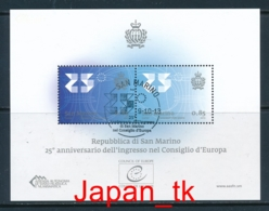 SAN MARINO Mi. Nr.  Bl 68 25. Jahrestag Der Aufnahme Von San Marino In Den Europarat - Europa Mitläufer - 2013 - Used - 2013