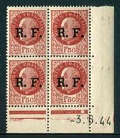 """Bloc De 4 Timbres**de1941-42 """"1F50 - Effigie Du Maréchal Pétain (type Bersier) Surchagé R.F."""" Avec Date 3.6.44 (1 Point) - Liberation"""