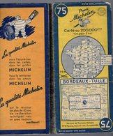 Carte Géographique MICHELIN - N° 075 BORDEAUX - TULLE 1951 - Strassenkarten