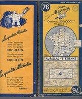 Carte Géographique MICHELIN - N° 076 AURILLAC - St ETIENNE 1953 - Cartes Routières