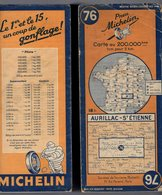 Carte Géographique MICHELIN - N° 076 AURILLAC - St ETIENNE 1945 - Cartes Routières