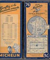 Carte Géographique MICHELIN - N° 076 AURILLAC - St ETIENNE 1948 - Cartes Routières