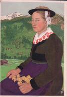 Fête Nationale Suisse 1933 Non Circulé, Valaisanne En Costume Et Marmotte (607) 10x15, Pli D'angle - Otros