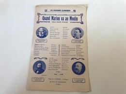 Partition «les Chansons Classiques» QUAND MARION VA AU MOULIN - 1928 - - Partitions Musicales Anciennes