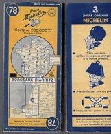 Carte Géographique MICHELIN - N° 078 BORDEAUX - BIARRITZ 1950 - Cartes Routières