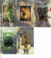 South African Big 5, Chip MTN, Elephant, Leopard, Rhino, Buffalo, Lion = Complete Set - South Africa