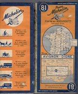 Carte Géographique MICHELIN - N° 081 AVIGNON - DIGNE 1942 - Cartes Routières