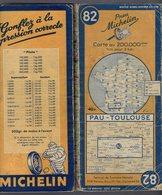 Carte Géographique MICHELIN - N° 082 PAU - TOULOUSE  1947 - Cartes Routières