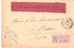 Seine Et Marne :- FONTAINEBLEAU Cachet INTENDANCE MILITAIRE Avec étiquette DISTRIBUER PAR EXPRESS - Poststempel (Briefe)