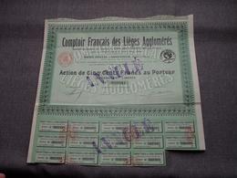 Comptoir Français Des Lièges Agglomérés : Action De 500 Francs Au Porteur : N° 000964 ( Voir Photo ) - Actions & Titres